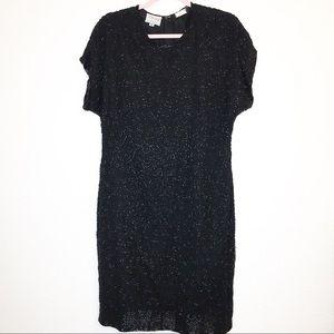 VTG Stenay Sequin Beaded Dress Black 10 Fits 6 8